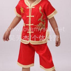 ชุดเสื้อ+กางเกง ลายมังกรเด็กผู้ชาย สีแดง