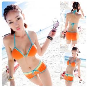 ชุดว่ายน้ําทูพีช เซ็ท 2 ชิ้น สีส้มสดใส สำหรับสาวเซ็กซี่ ผ้าไนล่อน+Spandex