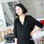เสื้อเชิ้ตคลุมท้องแขนยาว มีฮู้ด : สีดำ รหัส SH054 thumbnail 3