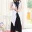 K784 ชุดเดรสคลุมท้องแฟชั่นเกาหลี โทนสีดำ เสื้อตัวนอกสีขาว เดรสตัวในสีดำยาว thumbnail 2