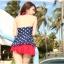 พร้อมส่ง ชุดว่ายน้ำ Tankini เซ็ต 3 ชิ้น เสื้อสีน้ำเงินแต้มจุดขาว กระโปรงระบายสีแดงสวย (เสื้อTankini +บิกินี่+กระโปรง) thumbnail 6