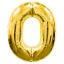 """ลูกโป่งฟอยล์รูปตัวเลข 0 สีทอง ไซส์จัมโบ้ 40 นิ้ว - Number 0 Shape Foil Balloon Size 40"""" Gold Color thumbnail 1"""