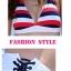 พร้อมส่ง ชุดว่ายน้ำ Bikini ผูกข้าง บราลายขวางสวย กางเกงสีขาวสายเชือกผูกข้างและมีซับในทั้งตัว thumbnail 11