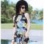 PRE ชุดว่ายน้ำวันพีซกระโปรงระบาย ผ้าพิมพ์ลายสวย ตัดขอบสีดำผูกด้านหลังเก๋ๆ thumbnail 4