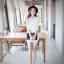 เดรส/เสื้อตัวยาวแฟชั่นเกาหลี ลายทาง ตัวเสื้อทรงเชิตเก๋ ๆ สีขาว thumbnail 2