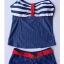พร้อมส่ง ชุดว่ายน้ำทูพีช สายเดี่ยว สีกรมท่าสดใส สไตล์ทหารเรือ thumbnail 7