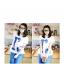 เสื้อพร้อมกางเกงคลุมท้อง สกีนลายไอแอม : สีขาว รหัส SH036 thumbnail 3