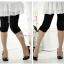 กางเกงเลคกิ้งขาสี่ส่วนแบบยางยืด ประดับมุก : สีดำ รหัส PN138 thumbnail 1