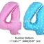 """ลูกโป่งฟอยล์รูปตัวเลข 4 สีชมพูพิมพ์ลายหัวใจ ไซส์จัมโบ้ 40 นิ้ว - Number 4 Shape Foil Balloon Size 40"""" Pink Color printing Heart thumbnail 3"""