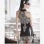 [พร้อมส่ง]เดรสแขนกุด retro floral geometric ฝ้ายยืดหยุ่น thumbnail 4