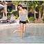พร้อมส่ง ชุดว่ายน้ำวันพีซ เสื้อตัวยาว เว้าหลังลึกเซ็กซี่ ลายบอดี้สีขาวดำ thumbnail 5