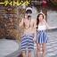 PRE ชุดว่ายน้ำคู่รัก วันพีซทรงแซก บราไหล่ปาด แต่งระบายน่ารัก ตัดต่อกระโปรงลายทาง thumbnail 5