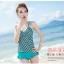 พร้อมส่ง ชุดว่ายน้ำ Tankini สายเดี่ยว เสื้อโทนสีเขียวแต้มลายจุดดำขาว กางเกงขอบแต่งระบายน่ารัก thumbnail 1