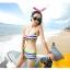 พร้อมส่ง ชุดว่ายน้ำทูพีซ บรา+กางเกงขาสั้น สีรุ้งสดใสสวยๆ thumbnail 4