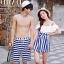 PRE ชุดว่ายน้ำคู่รัก วันพีซทรงแซก บราไหล่ปาด แต่งระบายน่ารัก ตัดต่อกระโปรงลายทาง thumbnail 1