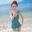 พร้อมส่ง ชุดว่ายน้ำ Tankini สายเดี่ยว เสื้อโทนสีเขียวแต้มลายจุดดำขาว กางเกงขอบแต่งระบายน่ารัก thumbnail 5