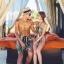 PRE ชุดว่ายน้ำคู่รัก หญิงวันพีซโมโนกินี่พิมพ์ลายสวย ชายกางเกงขาสั้นลายเดียวกัน thumbnail 3