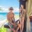 PRE ชุดว่ายน้ำคู่รัก หญิงวันพีซโมโนกินี่พิมพ์ลายสวย ชายกางเกงขาสั้นลายเดียวกัน thumbnail 5