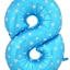 """ลูกโป่งฟอยล์รูปตัวเลข 8 สีฟ้าพิมพ์ลายดาว ไซส์จัมโบ้ 40 นิ้ว - Number 8 Shape Foil Balloon Size 40"""" Blue Color printing Star thumbnail 1"""
