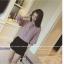 เสื้อทำงานแฟชั่นเกาหลี แต่งคอจีนแบบผูก แขนตุ๊กตา 3 ส่วน สีเบจอมเทา thumbnail 2