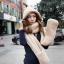 หมวกแฟชั่นเกาหลีพร้อมส่ง ทรงปล่อยยาวด้านข้างพันเป็นผ้าพันคอได้ด้วย นุ่มมาก สีครีม thumbnail 3