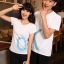 เสื้อยืดคู่รัก แฟชั่นคู่รัก ชาย + หญิง เสื้อยืดแขนสั้น เสื้อสีขาว สกรีนลาย OK +พร้อมส่ง+ thumbnail 3