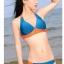 พร้อมส่ง ชุดว่ายน้ำบิกินี่ทูพีซ สีน้ำเงินกรมท่า แต่งลายเก๋สีส้มสดใส thumbnail 1