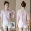 เสื้อแฟชั่นเกาหลีเย็บแต่งคอเสื้อน่ารักหวานๆ แขนเสื้อแต่งระบาย สีชมพู thumbnail 6