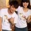 เสื้อยืดคู่รัก แฟชั่นคู่รัก ชาย + หญิง เสื้อยืดแขนสั้น เสื้อสีขาว สกรีนลายม้าเงินนำโชค +พร้อมส่ง+ thumbnail 1