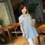 เสื้อเชิ้ตคลุมท้องคอปก สีฟ้าอ่อน ปักลายตัว R : SIZE XL รหัส SH043 thumbnail 4