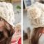 หมวกไหมพรมแฟชั่นเกาหลีพร้อมส่ง ทรงดีไซต์เก๋ ถักแต่งรูปโดมลายกากบาท มีจุกด้านบน และด้านข้าง สีครีม thumbnail 2