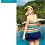 พร้อมส่ง ชุดว่ายน้ำ เซ็ต 2 ชิ้น ชุดแซกตัวยาว ลายขวางสีสันสดใส ปลายแต่งระบาย กางเกงบิกินี่ thumbnail 3