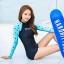 พร้อมส่ง ชุดว่ายน้ำแขนยาว พื้นสีดำแขนสีฟ้าลายหัวใจ กางเกงขาสั้นสีดำ thumbnail 1