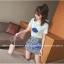 ชุดแฟชั่นเกาหลี เสื้อ + กระโปรง เย็บแต่งลายด้านหน้าตามรูปน่ารัก ๆ thumbnail 4