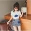 ชุดแฟชั่นเกาหลี เสื้อ + กระโปรง เย็บแต่งลายด้านหน้าตามรูปน่ารัก ๆ thumbnail 5