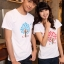 เสื้อยืดคู่รัก แฟชั่นคู่รัก ชาย + หญิง เสื้อยืดแขนสั้น เสื้อสีขาว สกรีนลายต้นไม้บอกรัก Love +พร้อมส่ง+ thumbnail 2