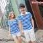 เสื้อคู่รัก ชายเสื้อยืดคอปก + เสื้อยืดคอปก แต่งเว้าไหล่ ลายสีฟ้าขาว +พร้อมส่ง thumbnail 2