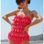 พร้อมส่ง ชุดว่ายน้ำวันพีซ Monokini สายเสื้อเดี่ยว แต่งระบายด้านหน้า หลังเว้าลึก น่ารักสไตล์เกาหลี thumbnail 2