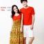 เดรสคู่รัก เสื้อคู่รัก ชายเสื้อแขนสั้น+ หญิงเดรสยาวแขนกุดสไตส์ฮาวาย สีส้ม +พร้อมส่ง+ thumbnail 4
