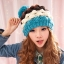 หมวกไหมพรมแฟชั่นเกาหลีพร้อมส่ง ทรงดีไซต์เก๋ แต่งจุกสีฟ้า หมวกลายขนมชั้นสีฟ้าขาวน้ำตาลแดง thumbnail 3