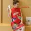 MK9501 เดรสคลุมท้องแฟชั่นเกาหลี โทนสีแดงคอจีน มีซัปในทัั้งตัวผ้านิ่มใส่สบายมากๆ ค่ะ thumbnail 4
