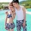 PRE ชุดว่ายน้ำคู่รัก ชุดว่ายน้ำบิกินี่ สายคล้องคอ ลายโซ่ขาว พื้นกรมท่าสวยๆ thumbnail 1