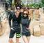 ชุดว่ายน้ำแขนยาวสีดำแต่งเส้นขอบ+เส้นด้ายสีเขียวสะท้อนแสง (เสื้อซิปหน้า) thumbnail 5
