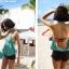 พร้อมส่ง ชุดว่ายน้ำวันพีซ ดีไซน์เซ็กซี่ สายคล้องคอ เสื้อตัวยาว เว้าด้านหลัง สีเขียวลายขวางสวย thumbnail 6