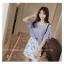 เสื้อแฟชั่นเกาหลี แขน 2 ส่วนแต่งระบายใหญ่ สวยเก๋ สีเทาควันบุหรี่ + สร้อยคอ thumbnail 1