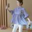 K114222 เสื้อคลุมท้องแฟชั่นเกาหลี โทนสีฟ้าสลับขาว thumbnail 6