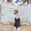 พร้อมส่ง ชุดว่ายน้ำวันพีซ สายเสื้อกล้าม ตัวเสื้อจับพลีทป้ายดีไซน์สวยเก๋ thumbnail 13