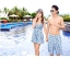 PRE ชุดว่ายน้ำคู่รัก หญิงเซ็ต 3 ชิ้น โทนฟ้า บรา กางเกงแต่งระบาย พร้อมชุดคลุมสวย thumbnail 3