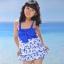 พร้อมส่ง ชุดว่ายน้ำเด็กหญิง tankini เสื้อยาว ลายเชอรี่หวานน่ารัก แต่งโบว์ใหญ่ที่อก กางเกงขาสั้น thumbnail 5