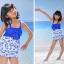 พร้อมส่ง ชุดว่ายน้ำเด็กหญิง tankini เสื้อยาว ลายเชอรี่หวานน่ารัก แต่งโบว์ใหญ่ที่อก กางเกงขาสั้น thumbnail 4